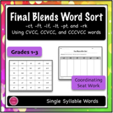 Final Blends Word Sort 3 {Differentiated + Seat work}