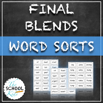 Final Blends Word Sorts- Cards for Sorting and Display