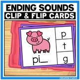 CVC Words Final Sounds Clip Cards Center
