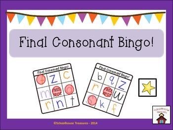 Final Consonant Bingo Game!