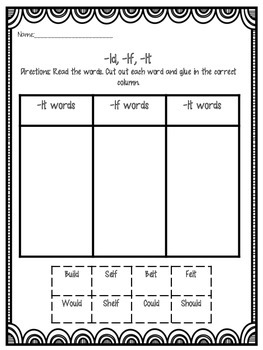 Final Consonant Blends Packet
