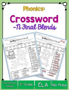 Final Consonant Blends Crossword Puzzle