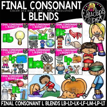 Final Consonant Blends L- Clip Art Bundle {Educlips Clipart}