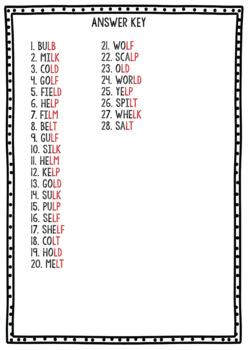 Final Consonant Blends -L- Clip Cards (lb, ld, lf, lm, lp, lt)