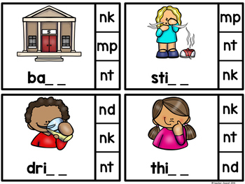 """Final Consonant Blends """"M"""" and """"N"""" Clip Cards"""