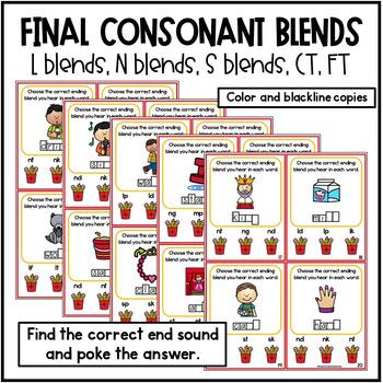 Final Consonant Blends N Blends, L Blends, S Blends, MP, CT, FT  Poke Cards