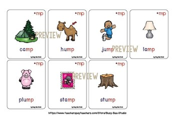 Final Blends Flash Cards (-nt -nd -nk -mp)