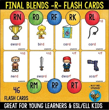 Final R Blends Flash Cards  (-rd -rf -rk -rl -rm -rn -rp -rt)
