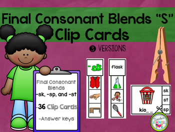 "Final Consonant Blends ""S"" Clip Cards"