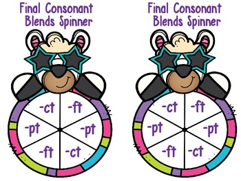 Final Consonant Blends Spinner Game -ct, -ft, -pt