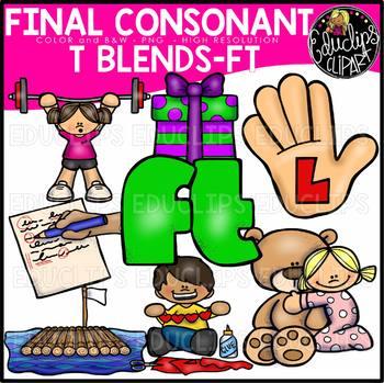 Final Consonant Blends -T Clip Art Bundle {Educlips Clipart}