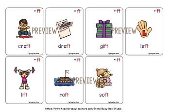 Final Blends -ct -ft -pt -xt Flash Cards