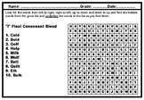 Final Consonant Blends, Word Search Puzzle Worksheets, No Prep Sub Plan