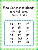 Final Consonant Blends and Patterns Word Lists