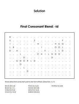 Final Consonant Blends - ld Word Search (Ending Blends Worksheet)