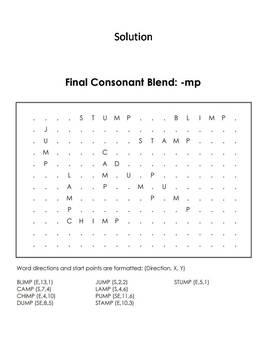 Final Consonant Blends - mp Word Search (Ending Blends Worksheet)