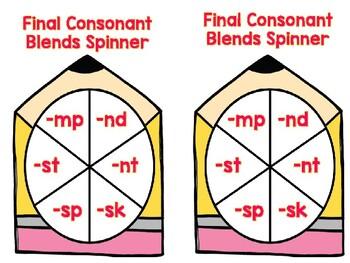 Final Consonant Blends -mp, -nd, -nt, -sk, -sp, -st Spinner Game