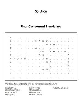 Final Consonant Blends - nd Word Search (Ending Blends Worksheet)