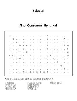 Final Consonant Blends - nt Word Search (Ending Blends Worksheet)