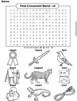 Final Consonant Blends - rd Word Search (Ending Blends Worksheet)