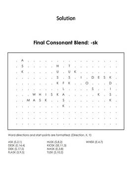 Final Consonant Blends - sk Word Search (Ending Blends Worksheet)