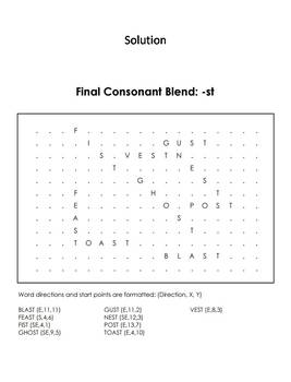 Final Consonant Blends - st Word Search (Ending Blends Worksheet)
