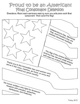 Final Consonant Deletion Activities for Memorial Day, 4th of July, & Freedom Day