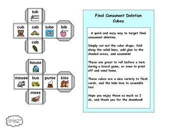 Final Consonant Deletion Dice