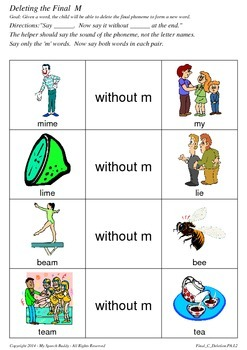 Final Consonant Deletion - M