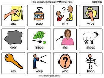 Final Consonant Deletion Minimal Pair Articulation Cards