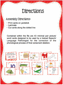 Final Consonant Deletion - Minimal Pairs Deck