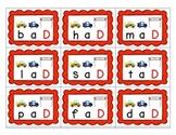 Final Consonant Deletion Racecar themed visual CVC flashca