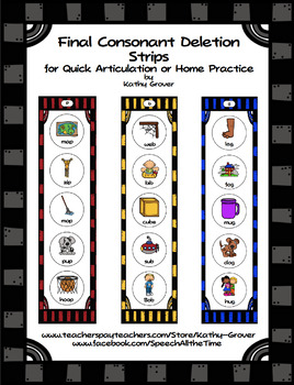 Final Consonant Deletion Strips for Quick Artic/Home Practice
