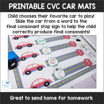 Final Consonant Deletion and CVC Speech Car Mats Print and No Print