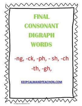 Final Consonant Digraph Charts