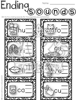 Final Consonant/Ending Sounds Puzzles for Literacy Centers