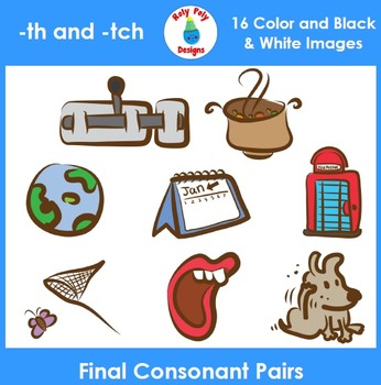 Final Consonant Pairs th and tch Phonics Clip Art