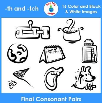 Final Consonant Pairs th and tch Phonics Clip Art