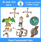 Final Consonant Pairs th and tch Phonics Clip Art Set 2