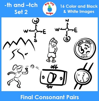 Final Consonant Pairs th and tch Phonics Clip Art Set 2