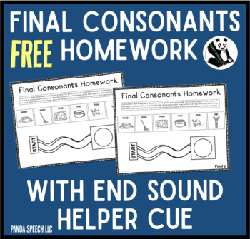 Final Consonants Homework with End Sound Helper Cue