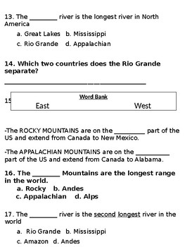 Final Continent/Geography Test (SOL 3.6)