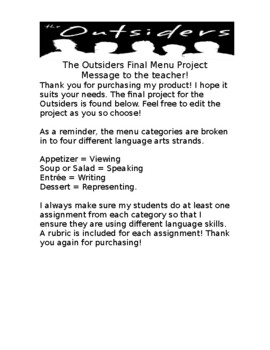 """Final Differentiated Project for """"The Outsiders"""" by S.E Hinton"""
