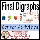 Final Digraphs Centers (word sort, picture cards, wordsear