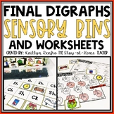 Ending Digraphs Worksheets and Sensory Bins