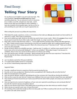 Final Essay:  Telling Your Story