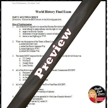 Final Exam -2nd Semester Secondary World History (Editable)