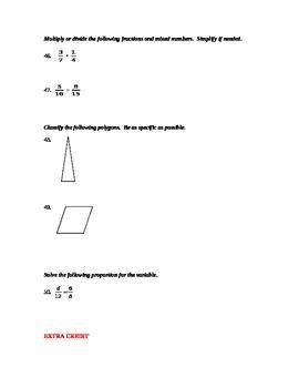 Final Exam- 6th grade Math