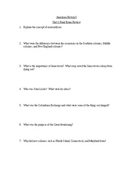 Final Exam Review: American History 1 (Unit 1)