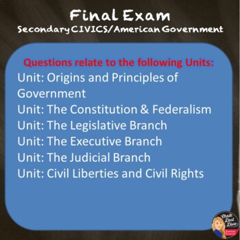 Final Exam & Review Game – Civics/American Government (Grades 8-12)